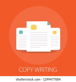 "documents flat icon - vector copy documents Illustration isolated for graphic and web design with ""copy writing"""