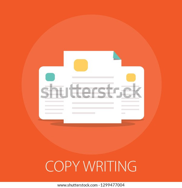 """documents flat icon - vector copy documents Illustration isolated for graphic and web design with """"copy writing"""""""