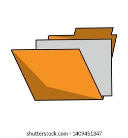 documents folder cartoon vector illustration graphic design