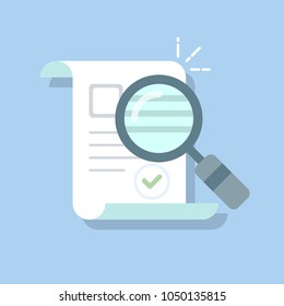 Documents icon and magnifying glass. Confirmed or approved document. Flat illustration isolated on color background.