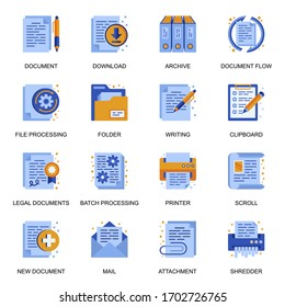 Documents icons set in flat style. Batch processing, legal documents, archive, file download, shredder, mail attachment, clipboard signs. Paperwork and documentation pictograms for UX UI design.