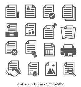 Dokumentsymbole auf weißem Hintergrund