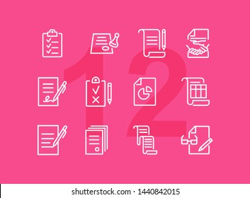 Documents line icon set. Set of line icons on white background. Office concept. Contract, report, clipboard. Vector illustration can be used for topics like office job, meeting, postal