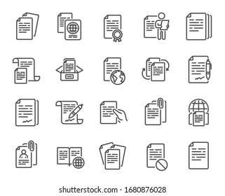 Documents line icons. Copy files, Contract agreement, Passport. CV interview, documents workflow, attachment clip icons. Change files, wrong document, bureaucracy and contract signature. Vector