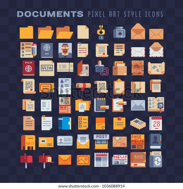 Image Vectorielle De Stock De Documents Office Pixel Art 80s