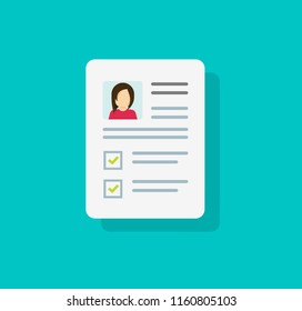 Documents with personal data vector icon, flat cartoon paper document with user profile data and photo symbol, concept of interview job, qualification test evaluation, cv or resume isolated
