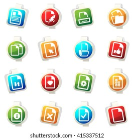 Documents stickers label icon set for web sites