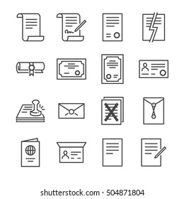 Documents Vector Line Icons set 2. Included the icons as agreement, contract, license, certificate, indenture, top secret and more.