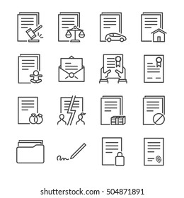 Documents Vector Line Icons set 1. Included the icons as agreement, contract, license, certificate, indenture, signature and more.