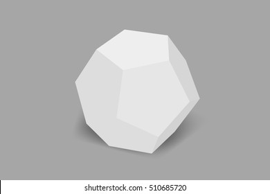 The dodecahedron made of paper, gypsum on a gray background.