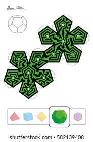 DODECAHEDRON MAZE - template of one of five platonic solid labyrinths - Print on heavy paper, cut it out, make a 3d model and find the right way from 1 to 12.