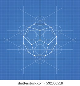 Dodecahedron, a vector illustration of dodecahedron on blueprint technical paper background