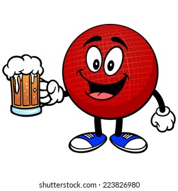 Dodgeball Mascot with Beer