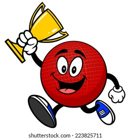 Dodgeball Mascot Running with Trophy
