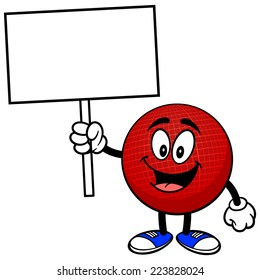 Dodgeball Mascot with Sign