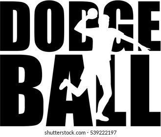 Dodgeball-Wort mit Spieler-Silhouette