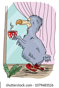 dodo bird in red slippers drink coffee from red cup and stare from the window and think about future