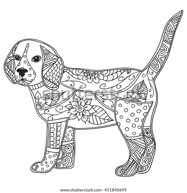 Dog Adult Antistress Children Coloring Page Stock Vector Royalty Rhshutterstock: Children S Coloring Pages Dogs At Baymontmadison.com