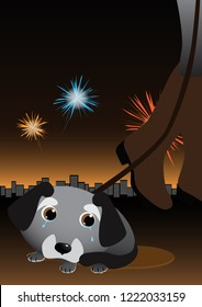 Dog is afraid of louds sounds, whistles and crying. Fireworks make stress for animals during yearend celebrations. Night sky, human with belt, fireworks and city lights on background. Vector image.