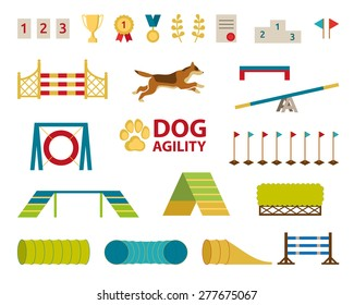Dog agility jumping obstacle set