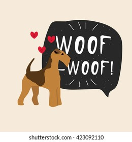 Dog airedale terrier illustration vector with banner