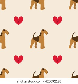 Dog airedale terrier pattern seamless with heart