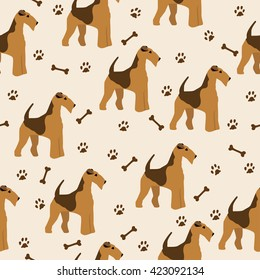 Dog airedale terrier pattern seamless with bone and footprint