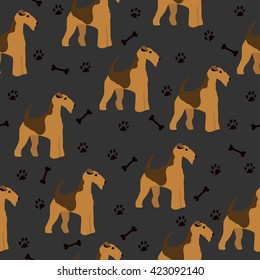 Dog airedale terrier pattern seamless