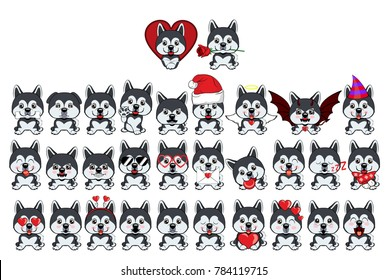 dog Alaskan Malamute. Big set of 31 different little dogs. Grey puppies with different emotions.