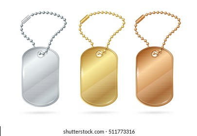 Dog Animal Tags or Medallion of Different Metal. Vector illustration of Military ID Army blank of Solder, veteran sign, gold and metallic card on chain
