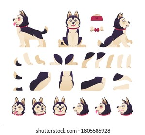 Dog animation. Cute cartoon pet motion set with moving body parts, happy puppy different postures. Vector collection of animal emotions, flat design