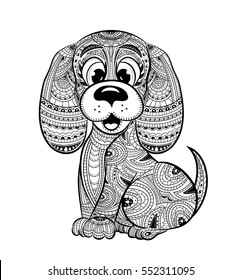 Dog anti-stress coloring book for adults. Black and white hand drawn vector. Doodle print with ethnic patterns. Zen tangle style for tattoo, shirt design, logo, sign.