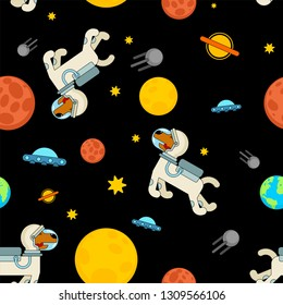 Dog astronaut space pattern seamless. Pet spaceman background. puppy cosmonaut costume. Universe textire