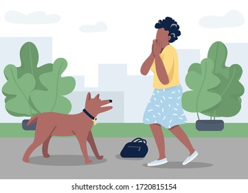 Dog attack flat color vector illustration. Young woman afraid of rabid animal 2D cartoon character with cityscape on background. panic attack, stressful situation. Danger reaction, phobia