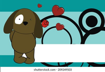 dog baby cute cartoon love rose background in vector format very easy to edit