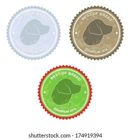 Dog badges with worn texture (that can be easily removed) isolated on white, vector illustration