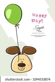 A dog and a balloon greeting card /  Birthday boy invitation