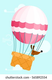 Dog in balloon - vector