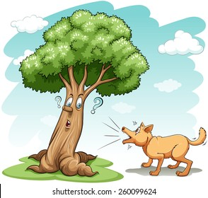 Dog barking the wrong tree on a white background