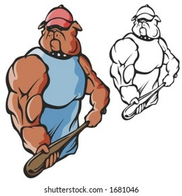 Dog Baseball Mascot for sport teams. Great for t-shirt designs, school mascot logo and any other design work. Ready for vinyl cutting.