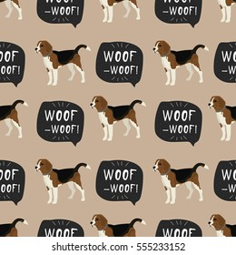 Dog beagle vector seamless pattern with hand drawn banner