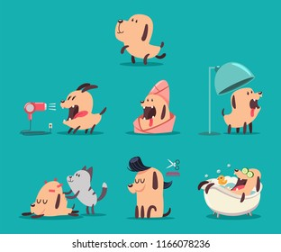 Dog beauty salon. Funny puppies character in the spa. Grooming vector cartoon set of cute pets isolated on background.