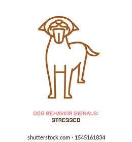 Dog behavior icon. Domestic animal or pet language. Stressed dog. Widely yawning. Doggy reaction. Simple icon, symbol, sign. Editable vector illustration isolated on white background