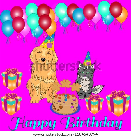 Dog Birthday Invitation Stock Vector Royalty Free 1184543794