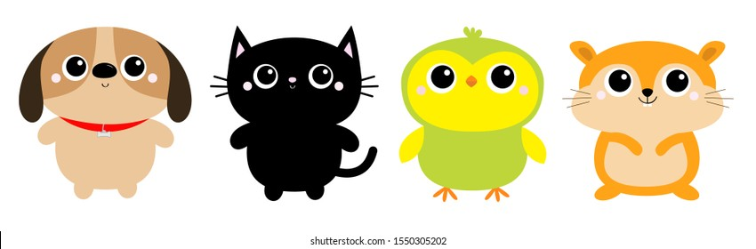 Dog Black Cat Hamster Parrot bird toy icon set line. Big eyes. Kitty kitten standing. Funny Kawaii animal. Kids print. Cute cartoon baby character. Pet collection. Flat design. White background Vector