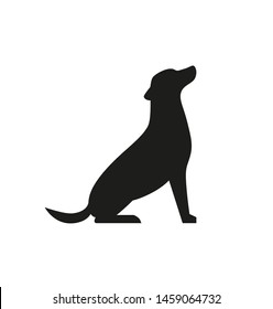 Dog black silhouette isolated on white background. - Vector