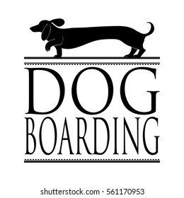 Dog boarding vector sign or newspaper ad design with hand drawn dachshund icon on top of elegant vintage style frame layout