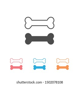 Dog bone icon set in modern flat design isolated on white background, pet food vector illustration