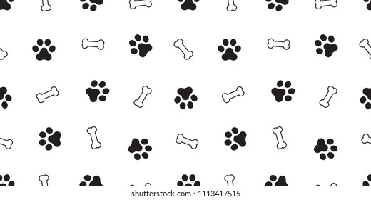 dog bone seamless pattern dog paw vector footprint repeat background wallpaper white isolated