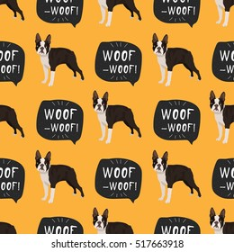 Dog boston terrier seamless pattern colorful with hand drawn banner woof-woof